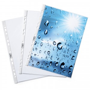 PUNCHED POCKETS A4 - GLASS CLEAR (POLYPROPYLENE)