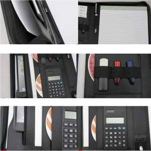 PU leather folder A4 with calculator
